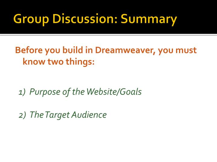 Group Discussion: Summary