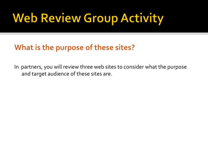 Web Review Group Activity