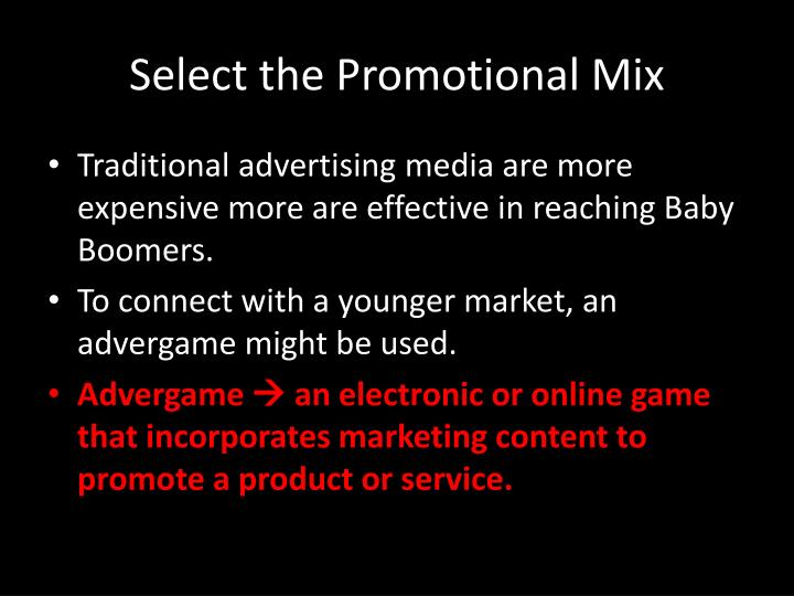 Select the Promotional Mix