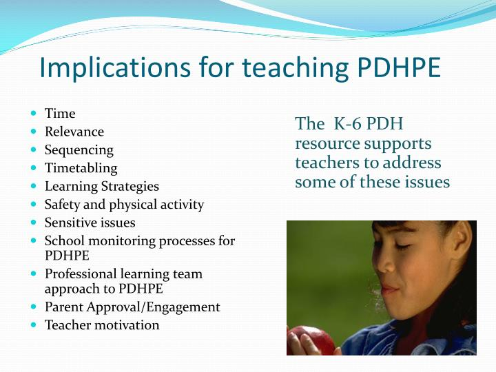 Implications for teaching PDHPE