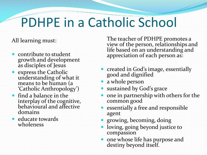 PDHPE in a Catholic School