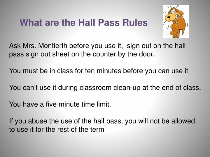 What are the Hall Pass Rules