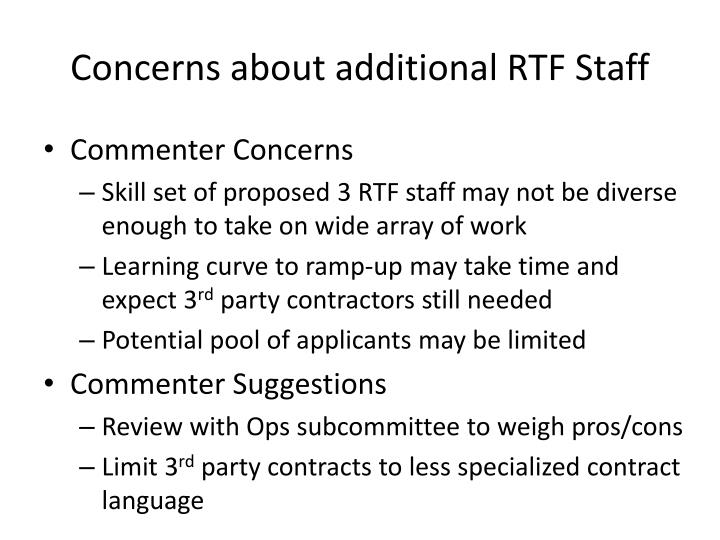 Concerns about additional RTF Staff