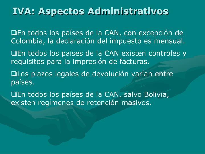IVA: Aspectos Administrativos