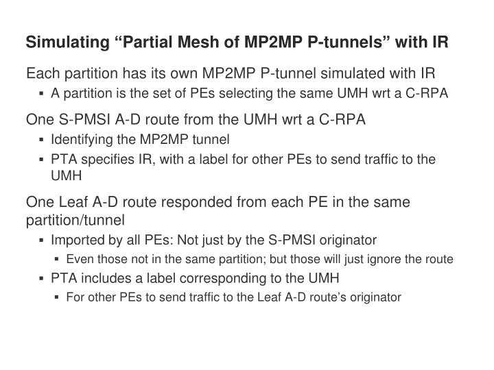 Simulating partial mesh of mp2mp p tunnels with ir