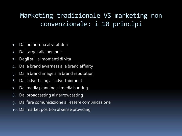 Marketing tradizionale VS marketing non