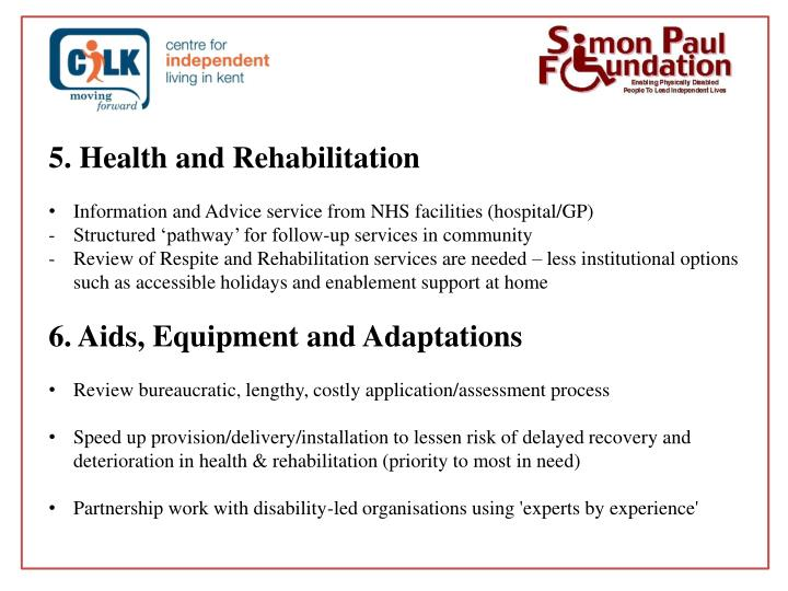 5. Health and Rehabilitation