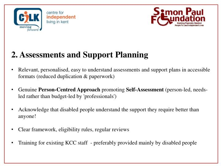 2. Assessments and Support Planning