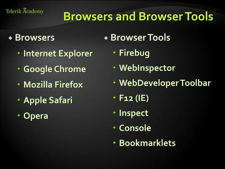 Browsers and Browser Tools