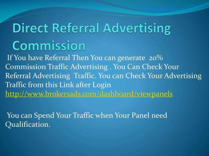Direct Referral Advertising Commission