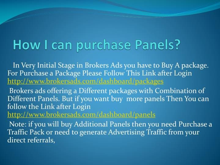 How i can purchase panels