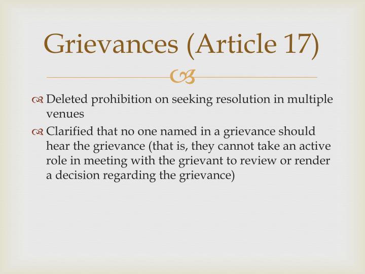 Grievances (Article 17)