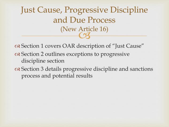 Just Cause, Progressive Discipline and Due Process