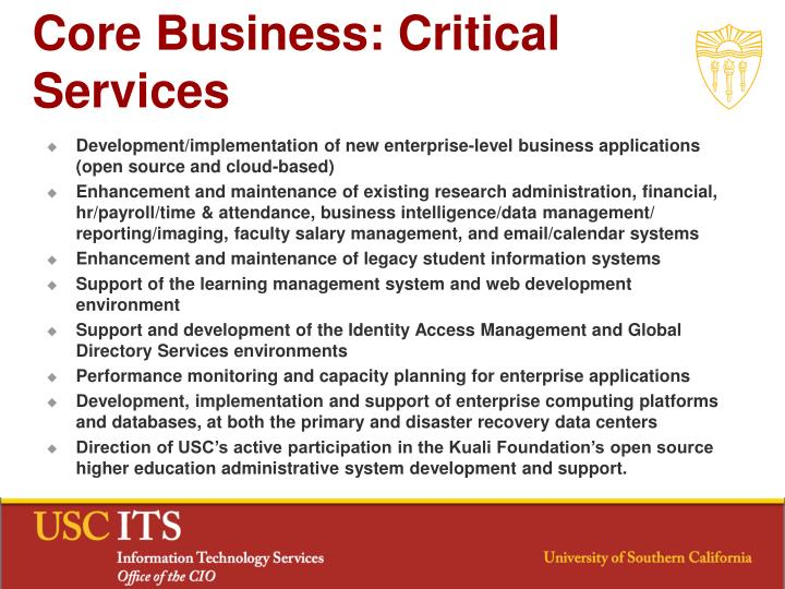 Core Business: Critical Services