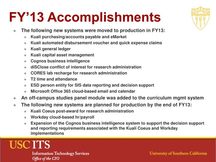 FY'13 Accomplishments