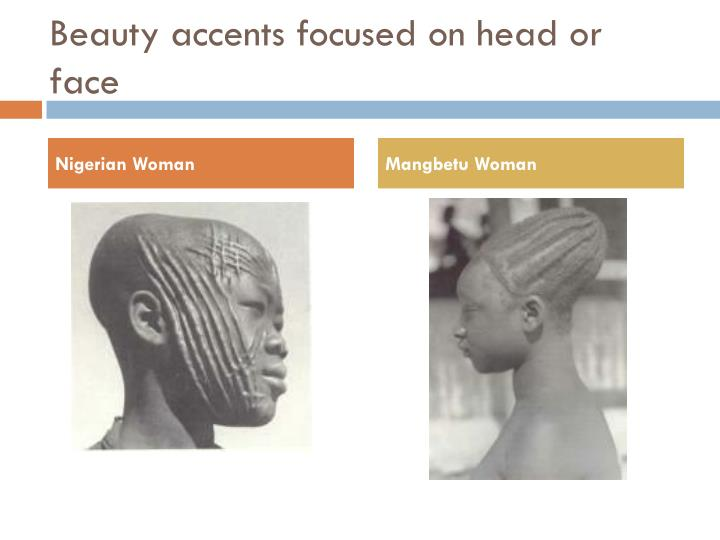 Beauty accents focused on head or face