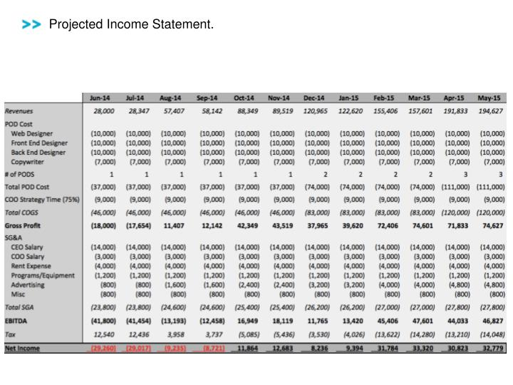 Projected Income Statement.