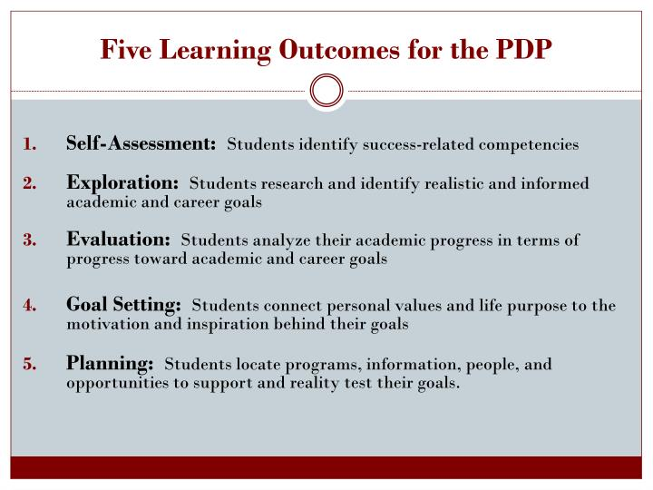 Five Learning Outcomes for the PDP