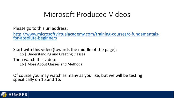 Microsoft Produced Videos