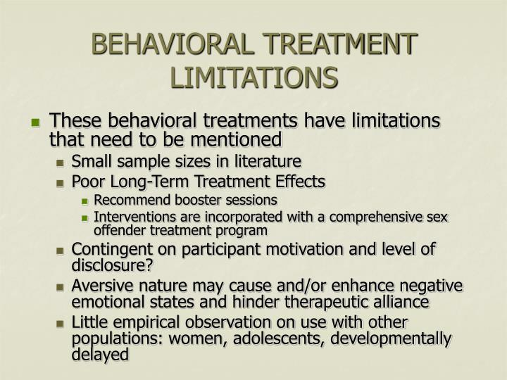 BEHAVIORAL TREATMENT LIMITATIONS