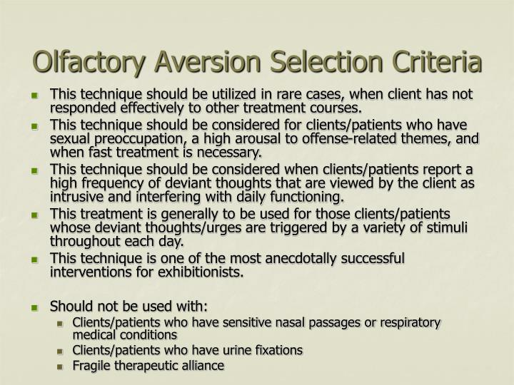 Olfactory Aversion Selection Criteria