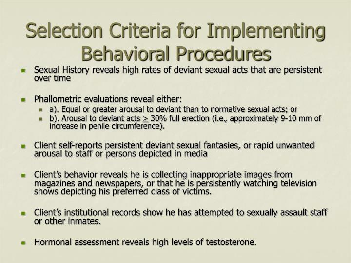 Selection Criteria for Implementing Behavioral Procedures