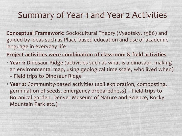 Summary of Year 1 and Year 2 Activities