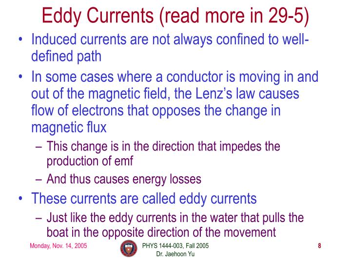 Eddy Currents (read more in 29-5)