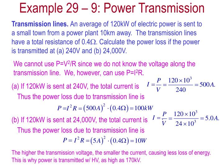 Example 29 – 9: Power Transmission