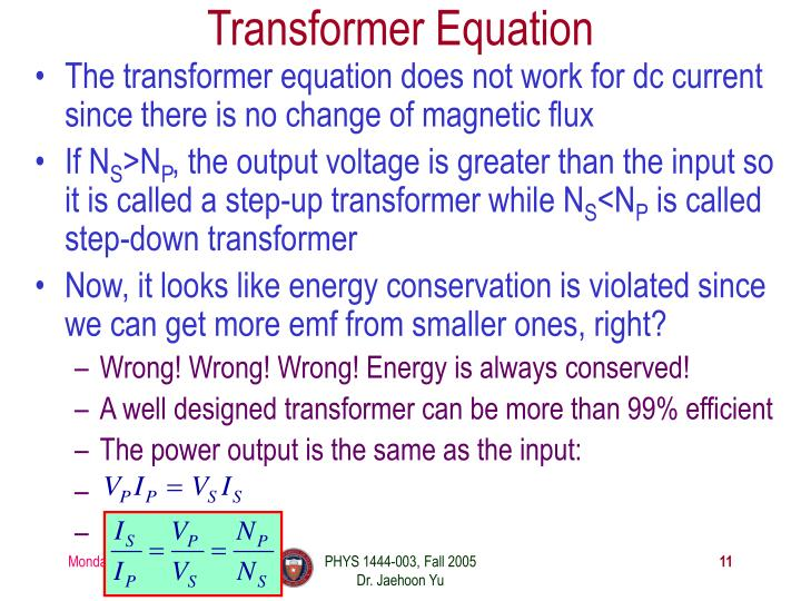 Transformer Equation