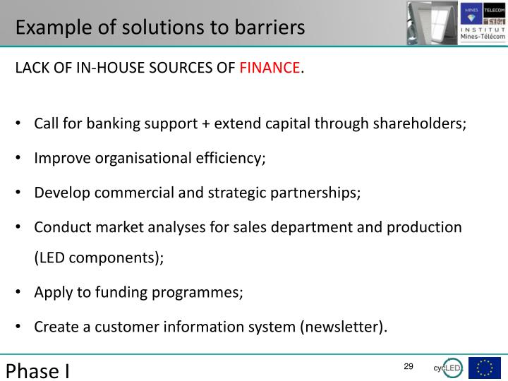 Example of solutions to barriers