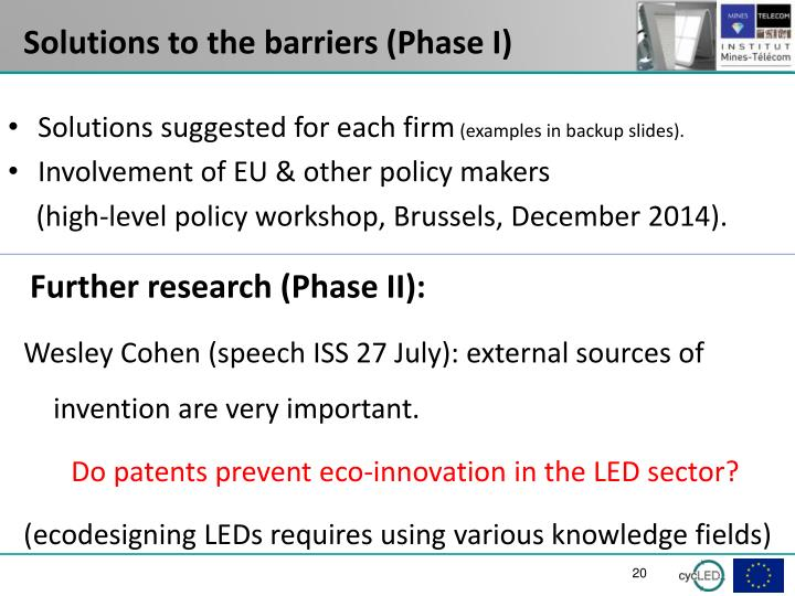 Solutions to the barriers (Phase I)