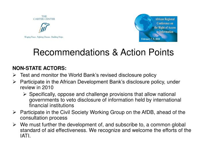 Recommendations & Action Points