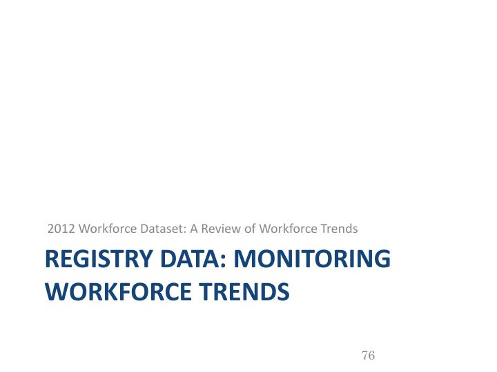 2012 Workforce Dataset: A Review of Workforce Trends