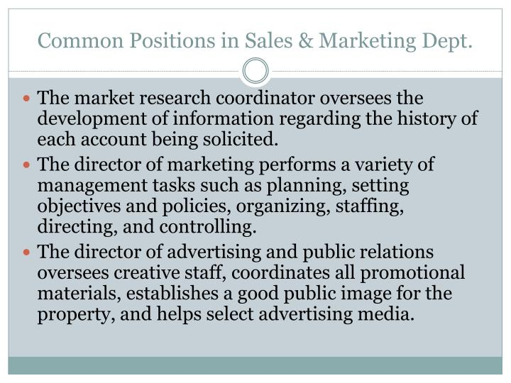 Common Positions in Sales & Marketing Dept.