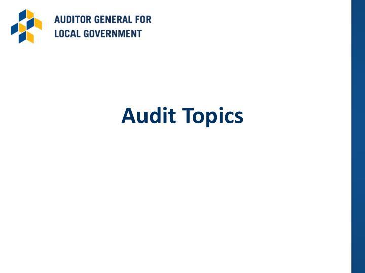 Audit Topics