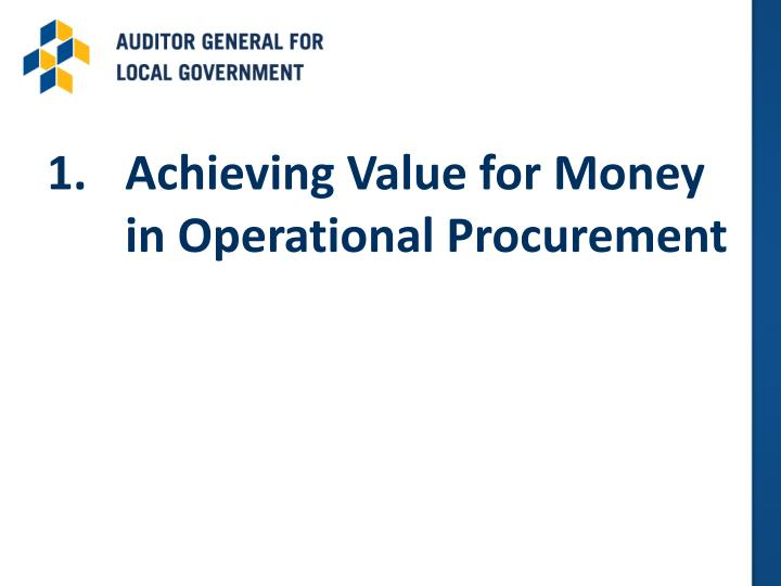 Achieving Value for Money in Operational Procurement