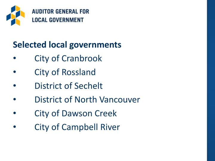 Selected local governments