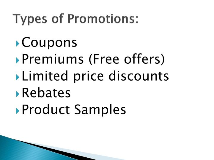 Types of Promotions: