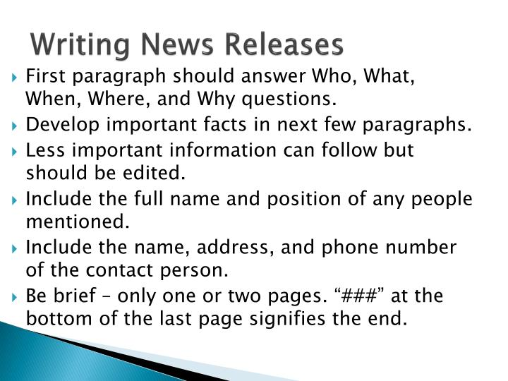 Writing News Releases