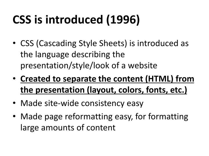CSS is introduced (1996)