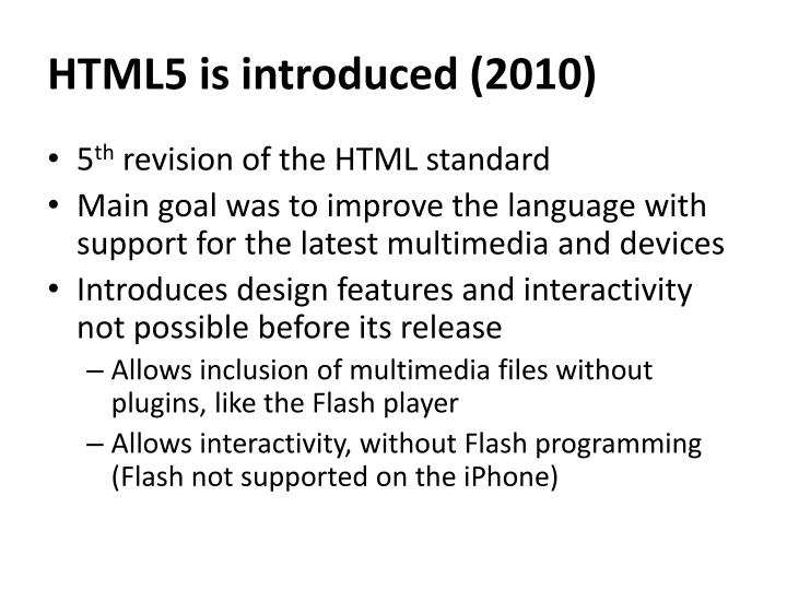 HTML5 is introduced (2010)