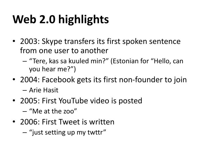 Web 2.0 highlights