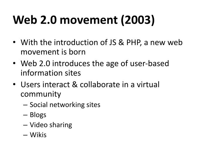 Web 2.0 movement (2003)