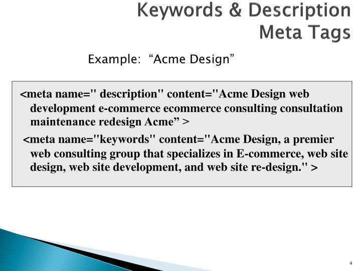Keywords & Description