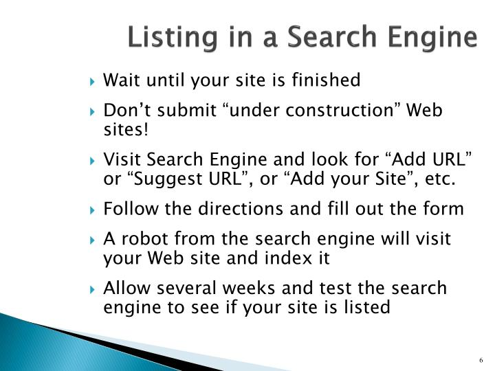 Listing in a Search Engine