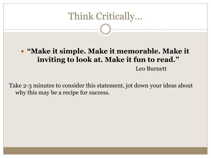 Think Critically…