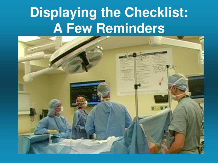Displaying the Checklist: