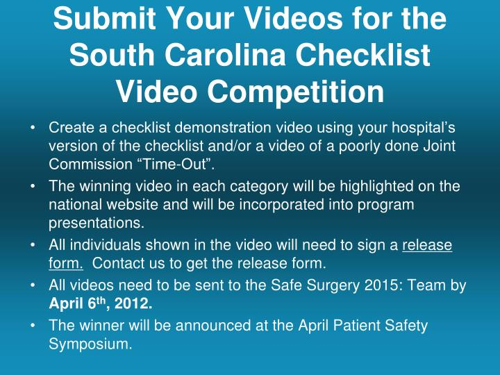 Submit Your Videos for the South Carolina Checklist Video Competition