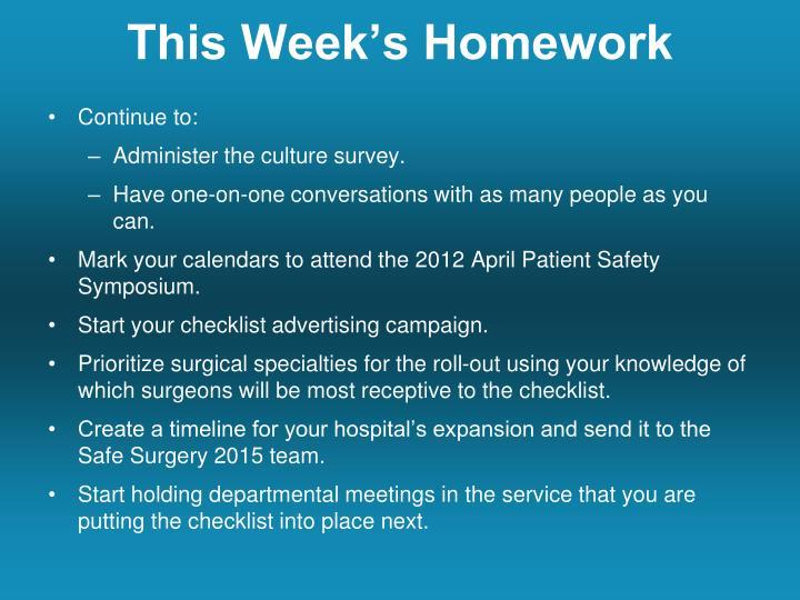 This Week's Homework